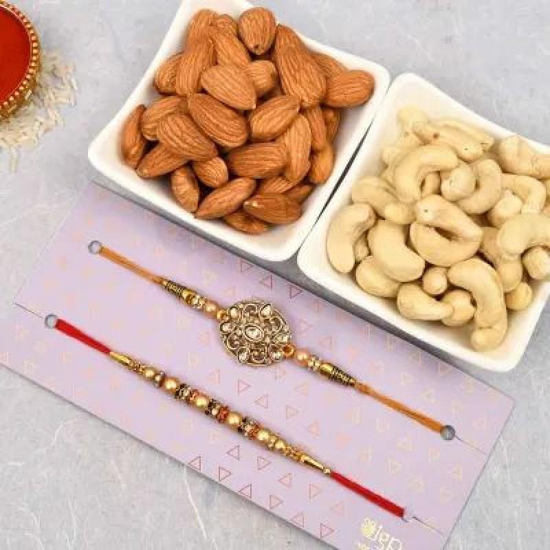 Set of 1 Kundan Rakhi with Dry Fruits