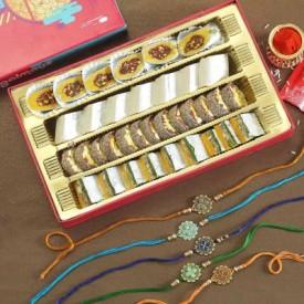 Set of 4 Multicolor Metal &  Rakhi
