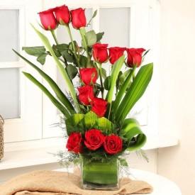 Long Stem Red Rose Vase